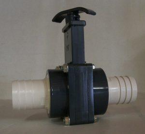 Absperrschieber beidseitig d50 mm mit eingeklebtem d38 mm Schlauchtülle