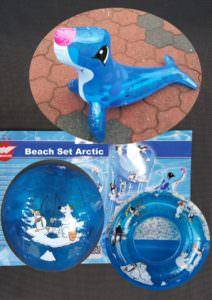 Beach Set Arctic aufblasbar bestehend aus Luftmatratze, Seehund, Wasserball und Schwimmring