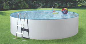 Rundbecken Splash Ø 300, 350, 460 cm Höhe 90 cm Folie 0,25mm. Ø 360 u. 450 cm Höhe 120 cm, Folie 0,4mm.