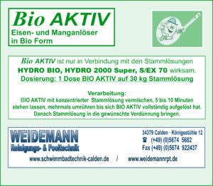 Bio Aktiv Wirkungsbildner gegen Eisen- + Manganablagerungen mit HYDRO BIO oder HYDRO 2000 Super