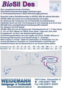 BioSil Des umweltschonendes und chlorfreies Desinfektionskonzentrat.