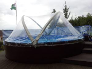Cabrio Dome Ø 4,50 m mit Folie Adriablau