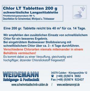 Chlor LT schwerlösliche 200 g Tabletten, enthält Trichlorisocyanursäure