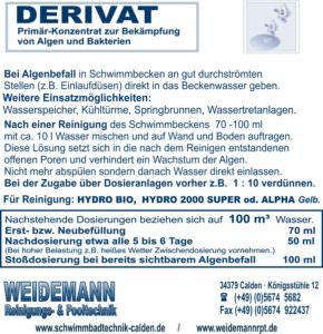 Derivat, Algenvernichtungskonzentrat, sorgt für klares Wasser.