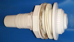 """Einlaufdüse aus PVC 1½"""" IG, 2"""" AG mit Flanschset und Anschluss 1½"""" AG - 32/38 mm Schlauchanschluss für Stahlwandbeckeneinbau"""