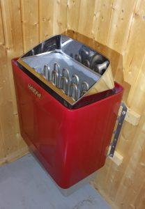 Saunaofen Trendi rot 4,5 kW/ 6,0 kW / 8,0 kW. Diese Ausführung gibt es mit integrierter Steuerung sowie für externe Steuerungen
