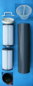 Bauka Filterkartuschenumrüstsatz verbessert die Feinfilterung von feinen Schwebstoffen im Schwimmbeckenwasser. Durch seine Faltung der Oberfläche entsteht eine größere Filteroberfläche.