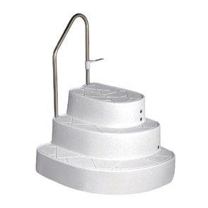 Kunststoff Eck Einstelltreppe freistehend zum nachträglichen Einstellen in das Becken. Treppe wird mittels einer Halterung mit dem Beckenrand verbunden.