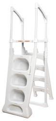 Kunststoff Hochbeckentreppe freistehend zum nachträglichen Einstellen in das Becken. Treppe wird mittels einer Halterung mit dem Beckenrand verbunden.