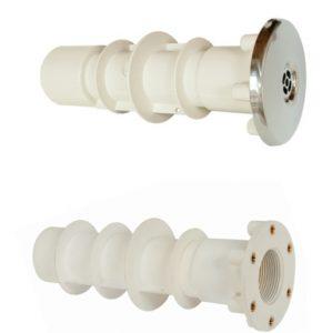 Kunststoff Mauerdurchführung mit Messinghülsen. Wahlweise mit VA oder Kunststoff Einlaufdüsen kombinierbar.