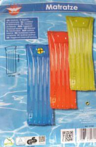 Luftmatratzen aufblasbar rot, blau oder gelb ca 67 x 168 cm