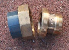 """Übergangsverschraubung Rotguss gerade 1½"""" AG auf 2"""" AG mit d 50 mm PVC Muffe"""