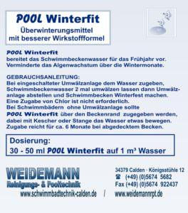 Pool Winterfit, Überwinterungsmittel. Vermindert das Algenwachstum über die Wintermonate und bereitet das Schwimmbeckenwasser für das Frühjahr vor.
