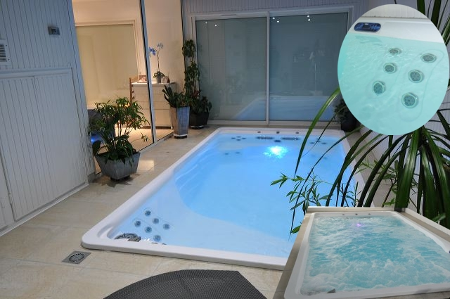 Pretty Pool Bade mit Spa Verknügen kombiniert 4,25m x 2,15m Höhe 1,30 m Komplett ausgestattet
