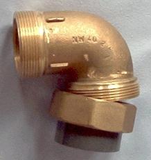 """Übergangsverschraubung Rotguss Winkel 2"""" AG auf d 50 mm PVC Muffe"""