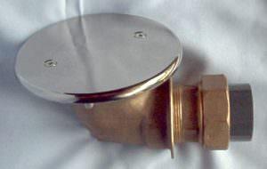 Rotguss Bodenablauf mit Antiwirbeldeckel und PVC Anschluss d50 mm