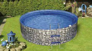 Rundbecken Splash 0,25 bzw 0,40 mm Innenhülle, preiswerter Einstieg mit Beckenwand außen in Steinoptik