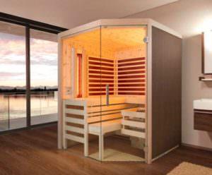 Sauna Infrarot Kombination Aurora im Zimmer