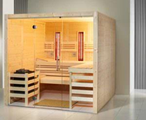 Sauna Infrarot Kombination Opal im Zimmer