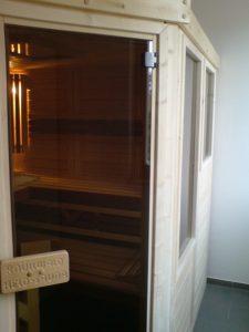 Sauna Ganzglas Rauchglas Tür mit 2 Seitenfenstern