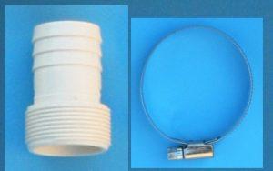 Schlauchtülle 1½ AG auf d38mm mit Schlauchschelle