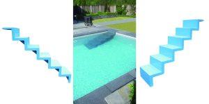 freitragende Schwimmbeckeneinstiegstreppe. Diese wird am Beckenrand und Boden befestigt.