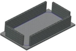 betonierte Seitenwände aus Schalsteinen oder eingeschalt für Rechteck Stahlwandbecken