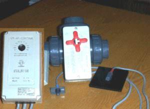 Solarsteuerung ohne Zeitschaltuhr für Solarabsorber mit 3 Wegekugelhahn und Temperaturfühler. Einstellbare Temperaturdifferenz.