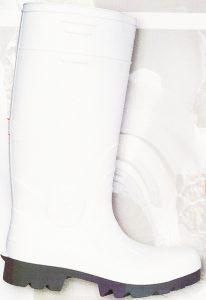 Gummistiefel Weiss mit abriebfesten Sohlen, mit Stahlkappe und Stahleinlage in der Sohle. Der Schaft ist kürzbar