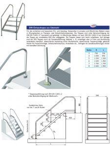 Einstiegstreppe Handlauf und Stufen aus V4A, 940 cm breit, verschiedene Höhen