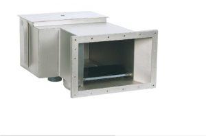 Skimmer V-277 aus V4A. Breitmaulausführung auf Basis A-100 verlängert. Saugbreite ca. 310 mm für Beton-, Folien- und Fertigbecken inklusive Flanschset und Einbaumöglichkeit für Niveauregler. Einbautiefe 495 mm