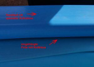 Handlauf mit spezieller Aufnahme für Keilbiese zum nachträglichen Folienwechsel.