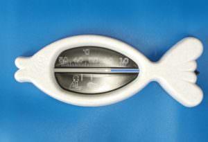 kleines Badewannen Fischthermometer grau mit schwarzer Skala ca 12 cm lang