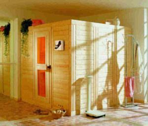 Sauna mit Standardtür ohne Fensterelemente